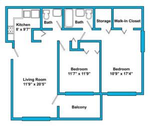 Older Derby 2 Bedroom Updated Floorplan